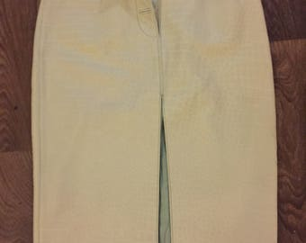Leather alligator print mint green pencil skirt
