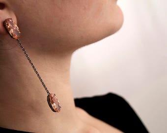 Golden zircon pendant earrings, italian fashion jewelry for women, bridal jewelry
