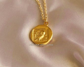 Ancient Greek Owl & Goddess Athena Reversible Coin Necklace Pendant