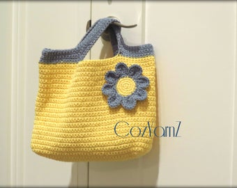 Cotton HANDBAG, cotton PURSE, cotton TOTE, yellow crochet purse, crochet handbag, yellow and blue accents, market bag, diaper bag, beach bag