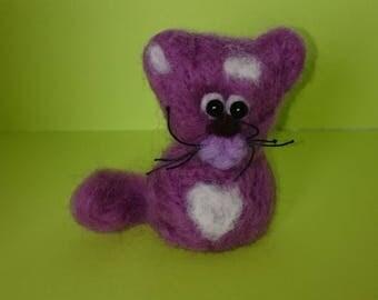 felted purple cat