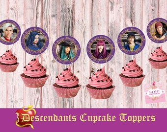 Descendants 2 Cupcake Toppers 6 characters  Mal, Evie, Uma, Ben, Carlos and Jay- HAPPY BIRTHDAY TOPPERS! -Instant Download!
