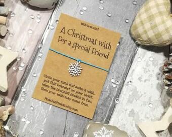 Friend Christmas Wish Bracelet, A Christmas Wish for a special Friend, Christmas gift for Friend, Friend wish bracelet Friend Christmas Wish