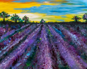 Lavender field oil acrylic canvas painting
