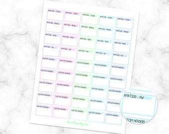 Custom Academic Half Box Stickers - Printable Version - Erin Condren Planner Stickers - Functional Stickers