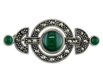 Marcasite And Green Art Deco Circles Sterling Silver Brooch