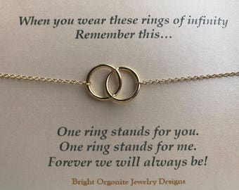 Infinity Necklace, Eternity Necklace, Gold Rings Necklace, Best Friends Necklace, Gift for BBF, Gifts for Lovers, Personalized Jewelry