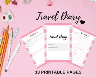Printable Travel Diary, Travel Journal, Trip Planner, Travel Planner Kit, Travel Itinerary, Packing List