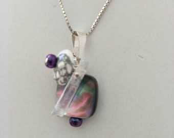 SOLD.   Mother of Pearl,  Quartz,  Howilite and Freshwater Pearl pendant.