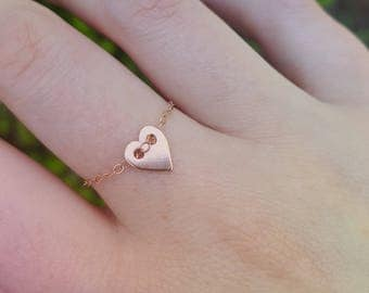 Chain Ring heart-rosé gold plated