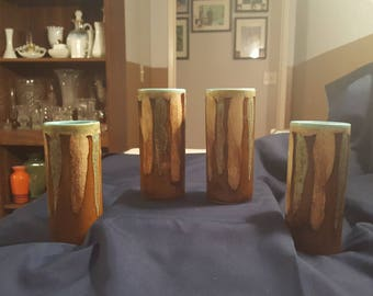 1960's Dryden Pottery Brown Blue Drip Tumbler Glasses