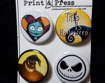 Nightmare Before Christmas inspired 4pk 1.25 inch round buttons. Featuring Jack, Sally, & Mr. Oogie Boogie
