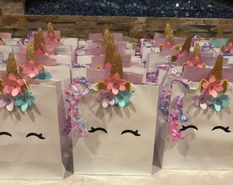 Unicorn White Favor Bags