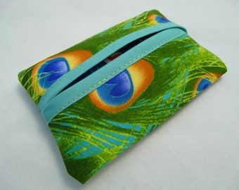 Tissue case: shades green peacock feathers