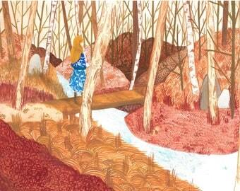 Vasilisa the Beautiful, Russian Fairy Tale, A4 Print