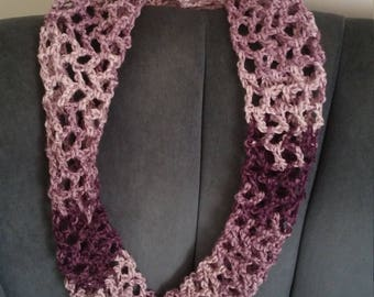 Purple Gradient Alternating Double Crochet Infinity Scarf