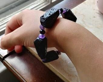 Lava Rock and AMETHYST diffuser bracelet