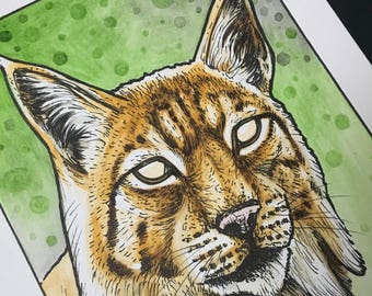Lynx original watercolor painting creative decoration