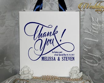 20 Wedding Thank you gift bags with ribbon and name/Navy Blue Welcome Bag/Guest Bags/Bridal Shower bags/Welcome to Our Wedding Gift bag