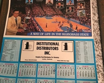 Vintage 1984-1985 UK Wildcats Basketball Poster