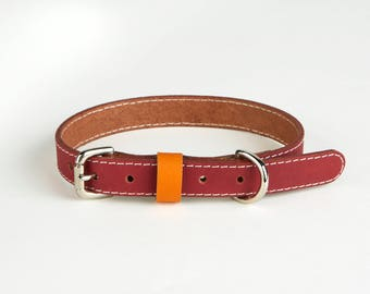 Ruby red handmade leather Dog collars