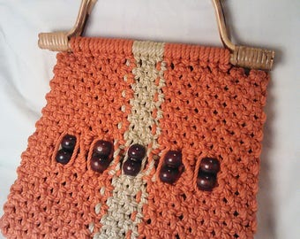 Vintage Macrame Purse Orange and White. Great University of Tennessee vintage purse.