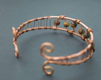 Copper and Tiger's Eye Ladder Bracelet