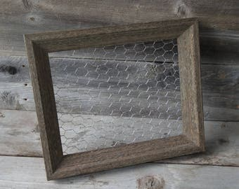 Upcycled Chicken Wire Frame / 8x10 / Wedding /Memo Board / Farmhouse Decor/ Shabby Chic / Rustic Frame /Photo Display / Jewelry Storage /
