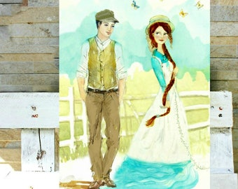 Watercolor Anne Shirley and Gilbert Blythe