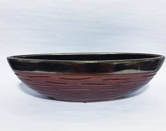 Decorative Red and Metallic Glazed Bowl