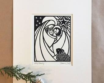 Nativity Holy Family Christmas Art Manger Scene Mary and Joseph Baby Jesus Christian Art Jesus is the Reason for the Season Creche Christmas