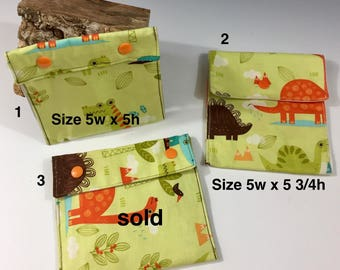 Snack bag, reusable snack bag, reusable lunch totes, women's lunch bag, eco friendly lunch bag, reusable lunch bag, kids snack bag