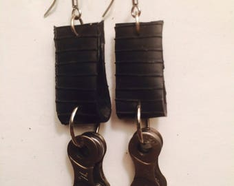 Re-purposed bike tube and chain earrings