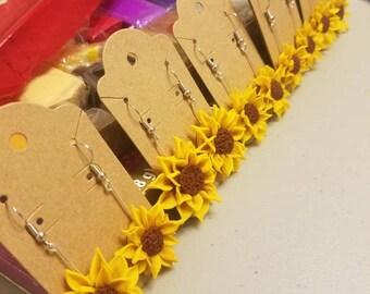Handmade polymer clay sunflower earrings