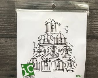 Impression Obsession Bird Cage Rubber Cling Stamp
