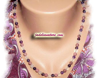 AMETHYST, RHODONITE and Rose Quartz necklace, 925 Silver