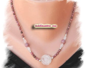 Rose Quartz and Rhodonite necklace 925 sterling silver
