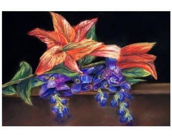 Lilly and Purple Flowers Pastel Drawing Print