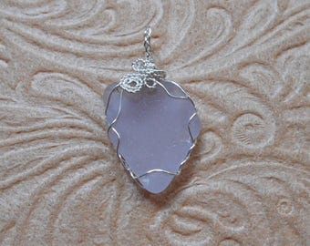 Rare Violet Grey Beach Glass Pendant