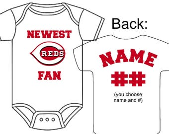 Newest new york mets fan custom made personalized baseball newest cincinnati reds fan custom made personalized baseball gerber onesie jersey optional socks hat choose negle Image collections