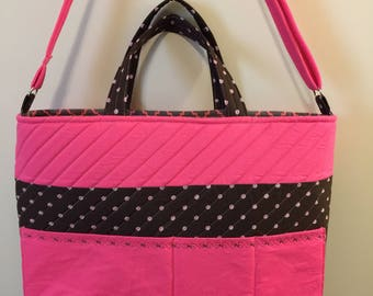 Quilted Brown/Hot Pink Carry all  Bag