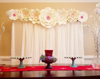 Custom listing- Puja. Gold and dark pink large paper flowers backdrop.