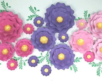 Custom order. Large pink paper flowers nursery wall. Giant pink paper flowers nursery. 3D nursery paper flowers purple. Nursery wall decor.