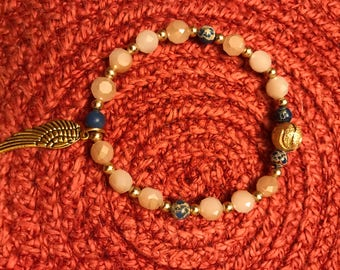 Bracelet, Beaded, Glass, Angel wing, gold
