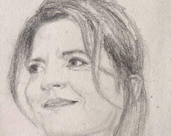 Portrait Dagnes Jaoui, pencil on paper, 16x24cm 2017