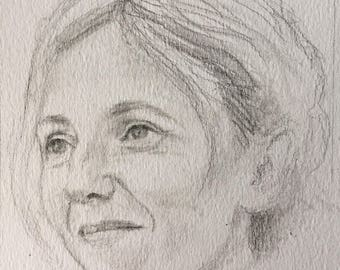 Portrait of Sandrine Kiberlain, pencil on paper, A4, 2017