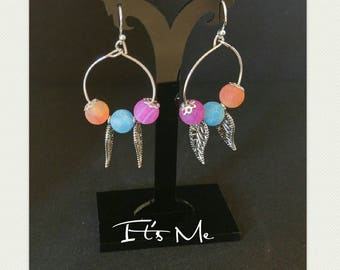 Frosted colored leaves of summer earrings