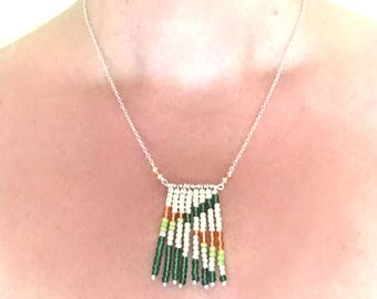 Beaded necklace; silver, green and orange, glass seed beaded necklace