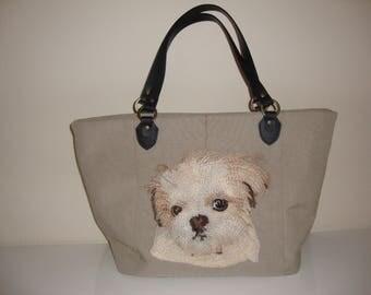 Shih Tzu, Handbag, leather handles, canvas weave 100% Polyester.foam interlining , cotton interior lining,  fabric,tote,pets,