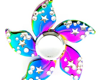 Bedazzled Bauhinia Flower Rainbow Fidget Spinner